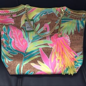 NWT Lilly Pulitzer Show Stopper Cork Tote Bag